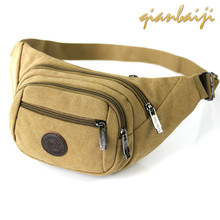 Man Canvas Pocket Chest Run Waist Bags Mini Belt Bum Hip Bag Women Fanny Pack Men For Sac Banane Femme Purse