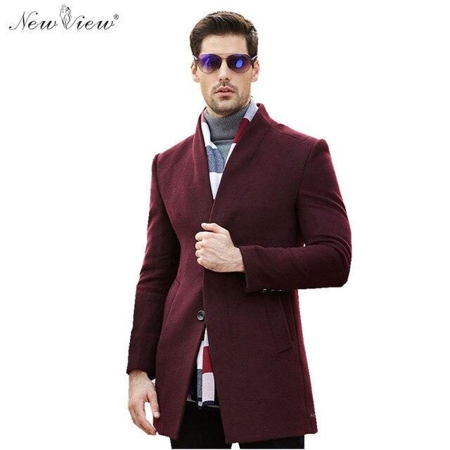 2017 Mens Cashmere Coat Winter Wool Long Coats Formal Businessman ...