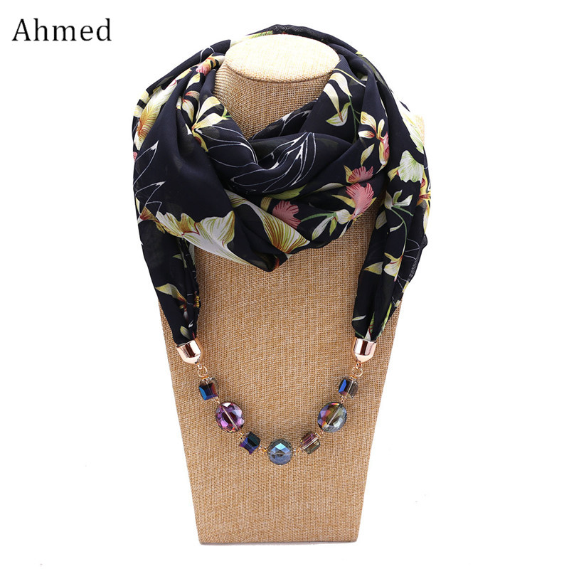 купить Ahmed Fashion Chiffon Printed Colorful Beads Scarf Necklaces for Women New Bohemian Statement Collar Necklace Scarves Jewelry недорого