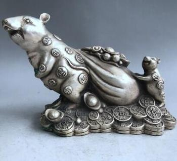Изысканная китайская старинная тибетская Серебряная медная резьба мышка Мышка для переноски сумки для денег монета Yuanbao богатство скульпт...