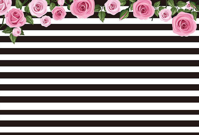 7x5FT White Black Stripes Wall Light Pink Flowers Branch ...