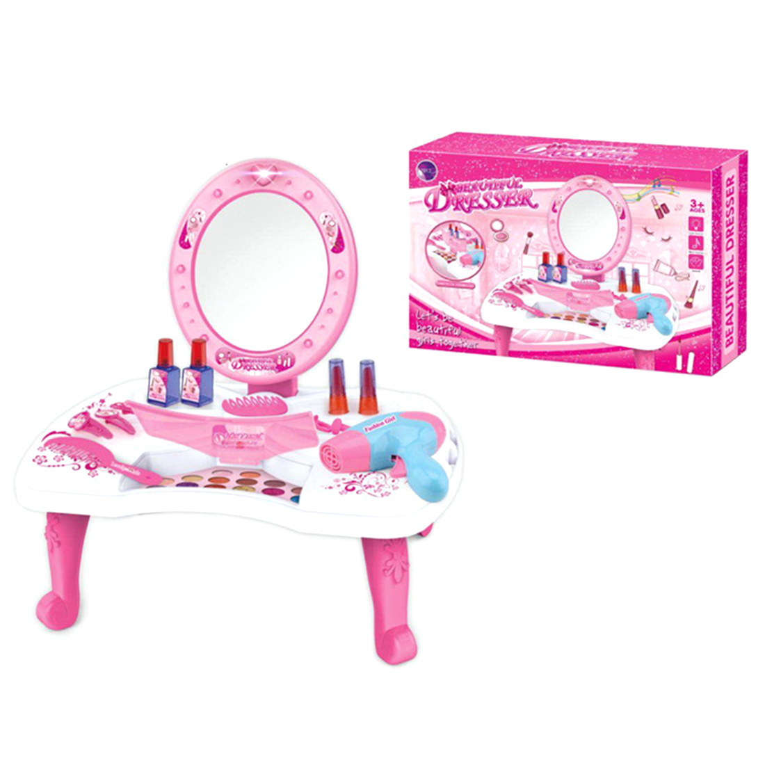 Hot Sale Makeup Toy 26Pcs Children Pretend Play Dressing Table Toy Pretend Kits Girl Pretend Play Cosmetics Playset For Children
