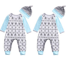 Newborn Infant Baby Boy Girl Clothes Arrows Romper Jumpsuit Hat 2pcs Long Sleeve Cotton Outfits Clothes Boys Girls Autumn