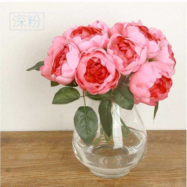 Европейский Шелк Цветок 1 Букет Искусственные Цветы Падение Vivid Роза Поддельные Листьев Свадьба Главная Партия Украшения Свадебные Букеты С