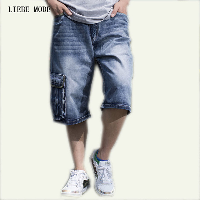 Plus Size Summer Loose Jeans For Big Men Blue Jean Cargo Pants Short Jeans  Men Multi