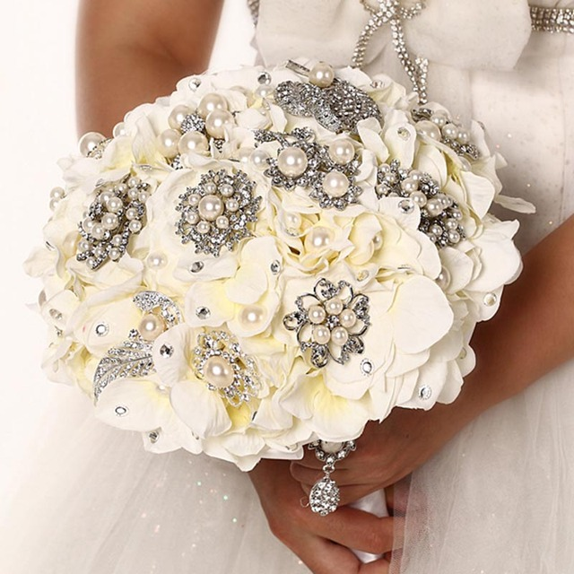 High Quality 2016 luxurious Customized Bridal YIYI  Bouquet With Pearl Beaded Brooch Wedding Colorful Bride 's Bouquet WD039