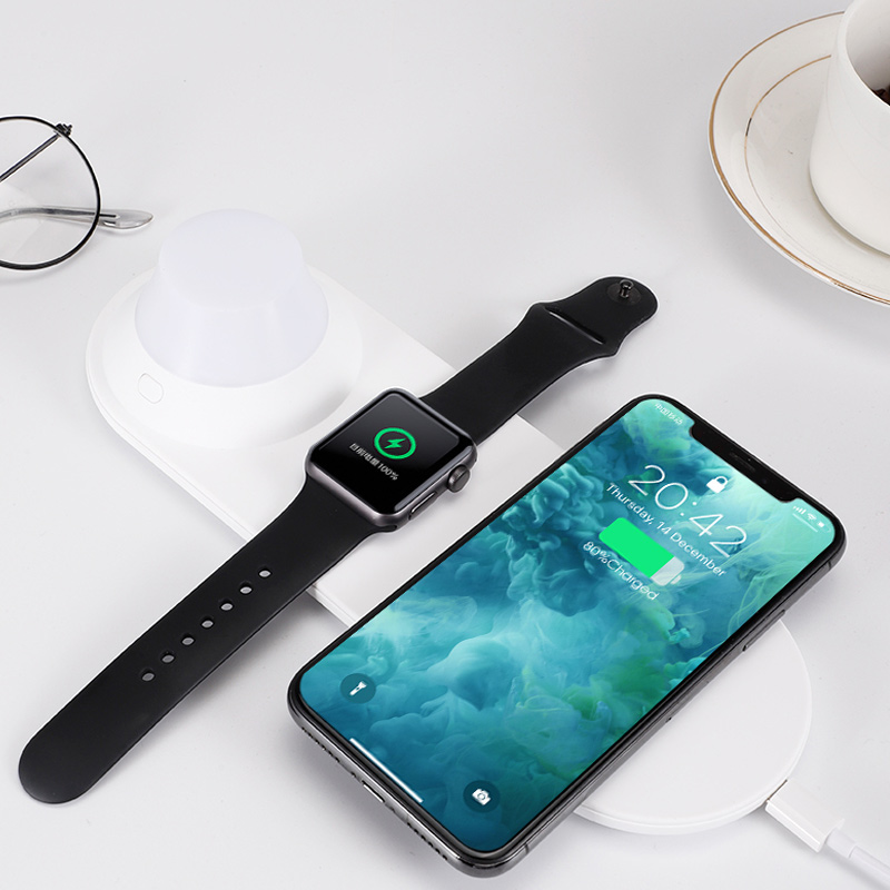 Phone Wireless Charger Quick Charging Smart Watch Charger with LED Night Light SGA998