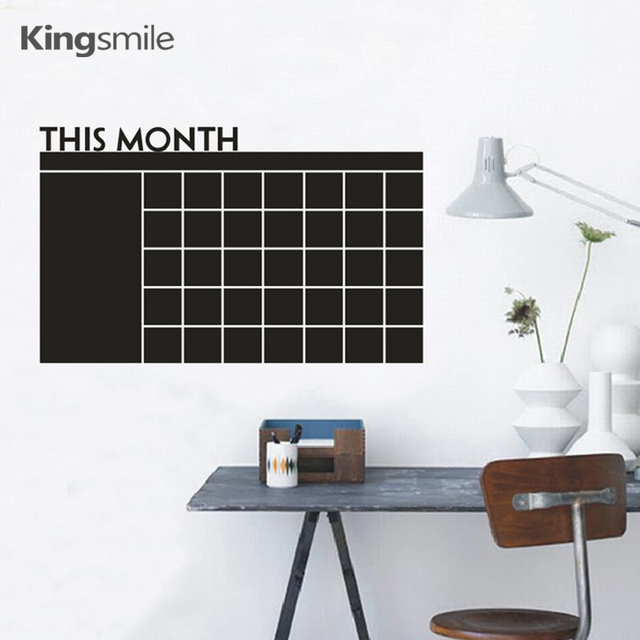 Monthly Chalkboard Calendar Wall Stickers Decals Blackboard Vinyl Sticker  Planner Wallpaper Office Kitchen Home Decor 100