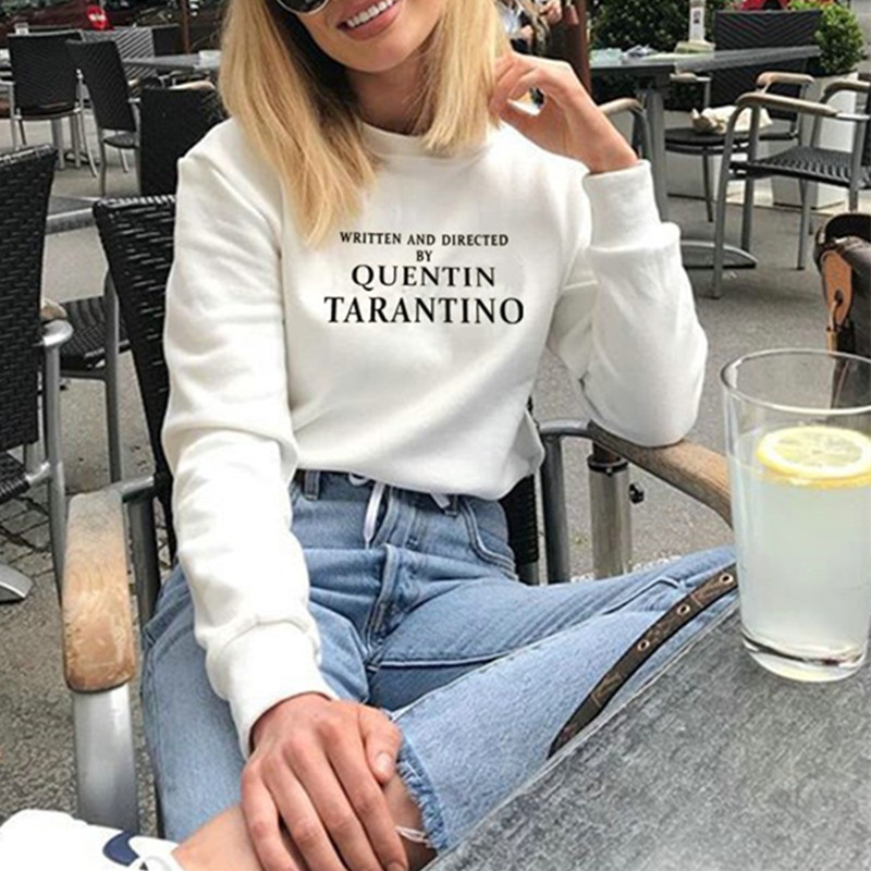 9ab64326186 WRITTEN AND DIRECTED BY QUENTIN TARANTINO Sweatshirt Women Casual Long  Sleeve Cerwneck Thin Tops Harajuku Pullover