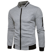 Winter Men Jacket Stand Collar Zipper Slim Fit Patchwork Outwear Male Plus Size Autumn Gray Coat Casual Male Clothing 2019 men s slim fit zipper stand collar letter printed jacket