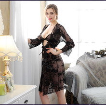 Black lace Nightdress with underwear Sleep & Lounge Openwork lace pajamas eyelashes fashion lingerie mesh undersuit