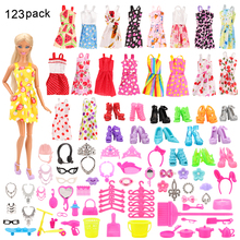 123 Item/Set Doll Accessories=15 Pcs Doll Clothes Dress Random Send+108 Kits Shoes Hangers Glasses Toy For Barbie Doll Gift Girl