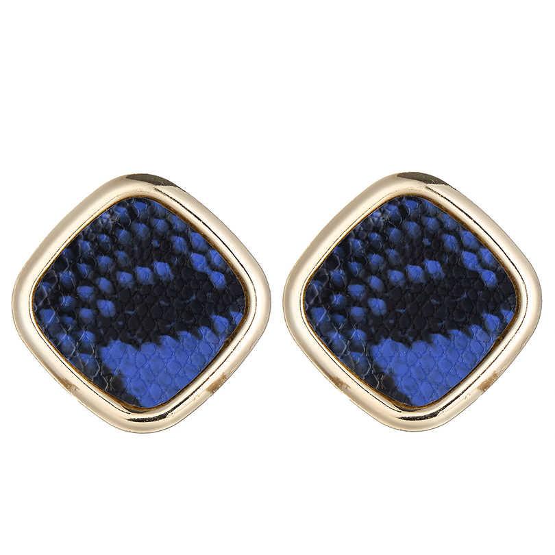 Vintage Multicolor Punk Snake Skin Stud Earrings Women Party Dress Stylish Golden Square Za Earring Maxi Jewelry Wholesale