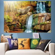 цены на Top Nature Scenery Waterfall Water Wall Tapestry Bohemian Hippie Tapestry Forest Wall Hanging Wall Art Decor for Liveing Room  в интернет-магазинах