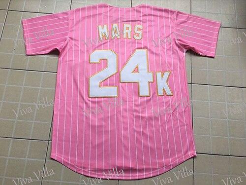 Baseball Jerseys Bruno Mars 24K Hooligans BET Awards Men Baseball Jersey Stitched Throwback Baseball Jerseys S-4XL VIVA VILLA