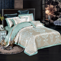 Bedspread Satin Jacquard four pieces set Tencel cotton quilt bed sheet