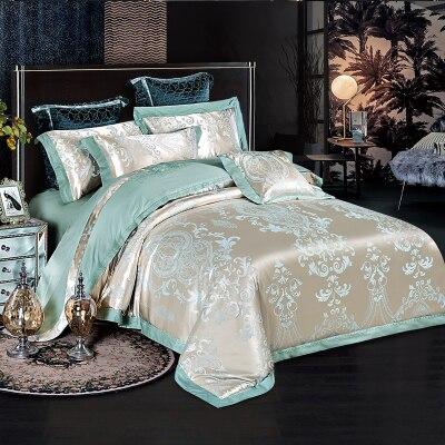 Bedspread Satin Jacquard four pieces set Tencel cotton quilt bed sheet
