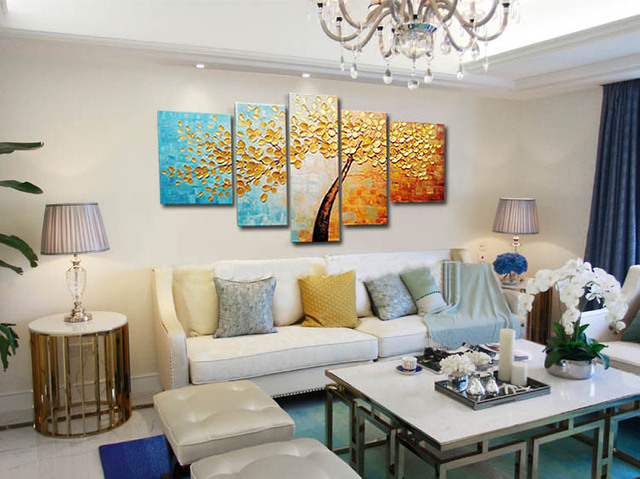 Muya 5 stuk canvas art acryl paletmes schilderij boom modern ...