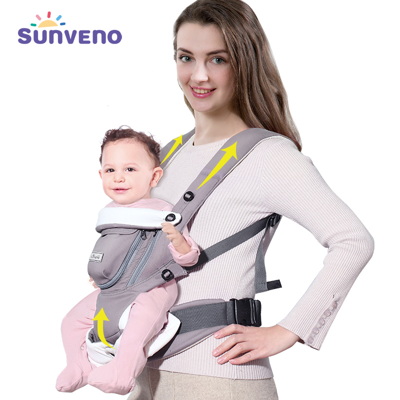 SUNVENO Ergonomic Baby Carrier Breathable Front Facing Infant Baby Sling Backpack Pouch Wrap Baby Kangaroo For Baby 0-12 Months