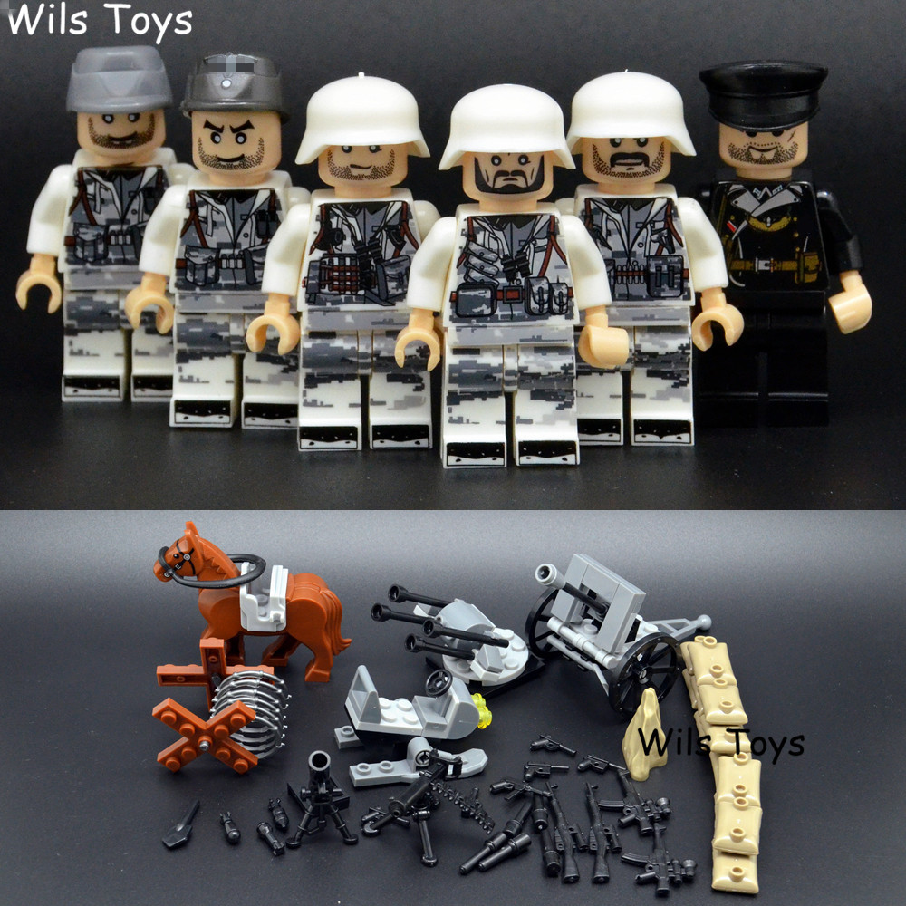 6pcs German Army MILITARY Special Forces Soldier SWAT Team Model CS Building Blocks Figures Educational Toys Gifts Boys Children