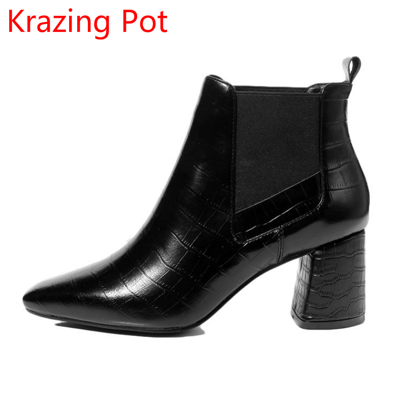2018 New Arrival Fashion Winter Shoe Cow Leather Chelsea Boots High Heels Square Toe Streetwear Office Lady Nude Ankle Boots L16 2018 superstar cow suede streetwear square toe zipper high heels winter boots keep warm office lady ankle boots for women l50