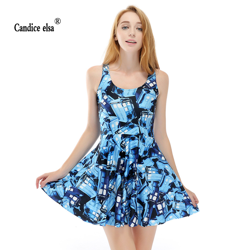 CANDICE ELSA woman dress digital printing wholesale blue Lodge pleated put on a large umbrella Skd1176