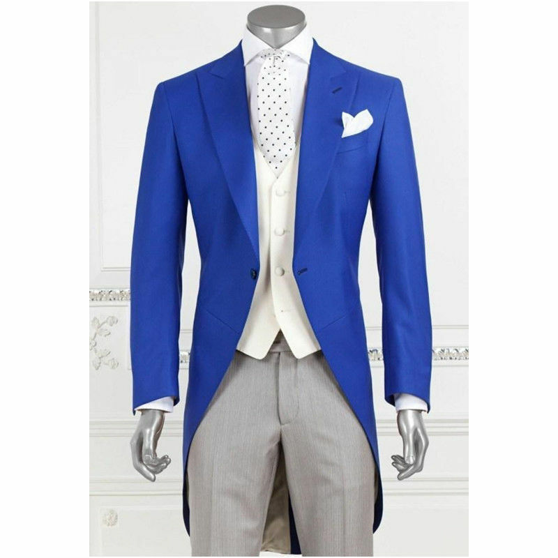 Custom Made 3PCS Tail Coat Classis Formal Occasion Slim Fit Groom Tuxedos Suits 1