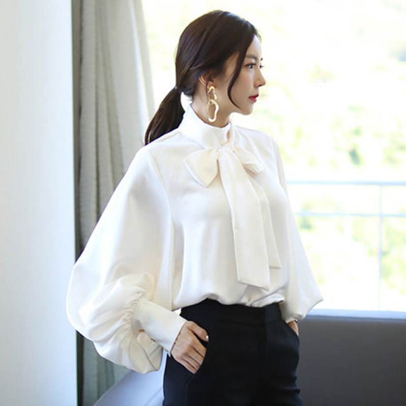 New Autumn Fashion Women Shirts Lantern Loose Solidlt Chiffon Full Sleeve Set Head Blouse Shirt Army Green White 3055