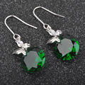 Hot Sell ! Green Stone Cubic Zirconia For Women Silver Jewelry Drop Earrings Free Shipping PE0319