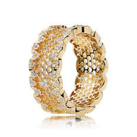 Original 925 Sterling Silver Gold Honeycomb Lace Pan Ring Shine Clear CZ For Women Wedding Gift