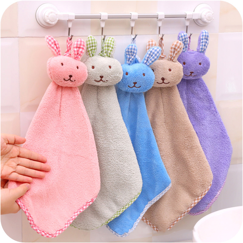 5 Colors Cute Cartoon Baby Towel Hand-held Coral Velvet Hand Towel Children Kids Rubbit Design For Wipe Hanging Bathing Towels
