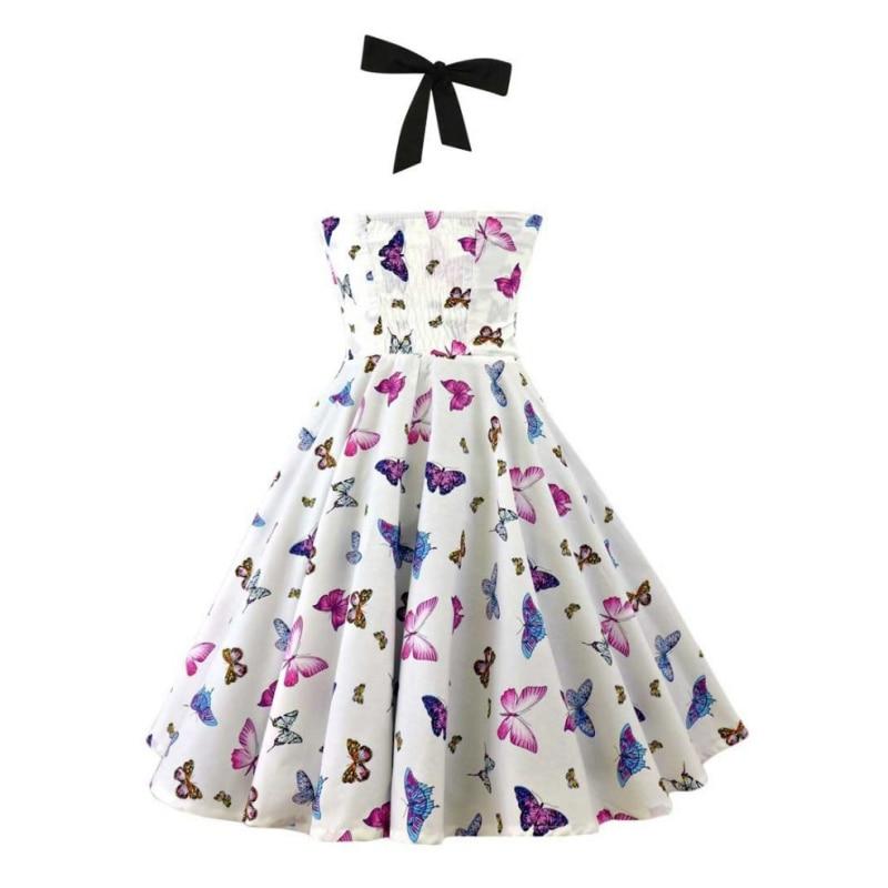 eres muy guapa Store  Women's Hanging Neck Print  Fashion Dress Hepburn Style High Waist Backless Big Swing Gown Retro Dress