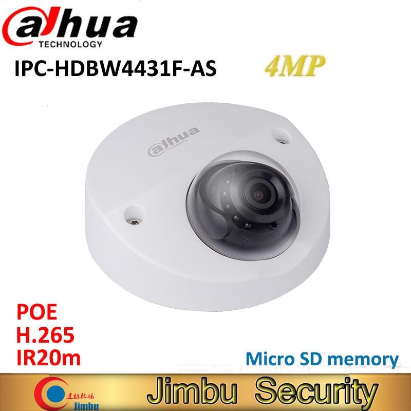 Dahua 4MP IR Mini Dome Camera IPC-HDBW4431F-AS H.265 IR20m WDR IP67 POE IK10 Micro SD memory CCTV camera Smart Detection original ipc hdbw4431f as 4mp ir mini dome network ip camera ir20m support micro sd card smart detection h 265 wdr ip67 ik10 poe