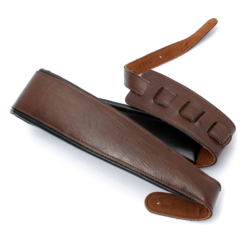 High Quality Adjustable Black Brown PU Leather Strap For Electric Acoustic Guitar Bass
