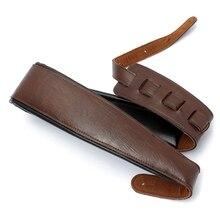 Alta calidad ajustable negro + Brown PU correa de cuero para eléctrica y acústica guitarra bajo