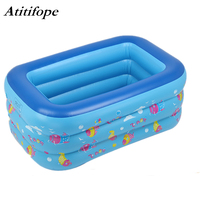 Swim Center Family Inflatable Pool 130x85x55cm rectangular kids swimming pool soft bottom Ocean World children bathtub