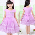 New Product Children Princess Dresses For Girls Summer 2017 Short Sleeved Lace Flowers Cute Dress Girls Clothes Kids Costume