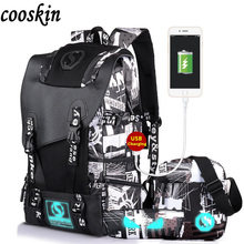 2017 Men s USB Charge Star Backpack Fashion Student Luminous Good School Backpack Casual Travel Laptop