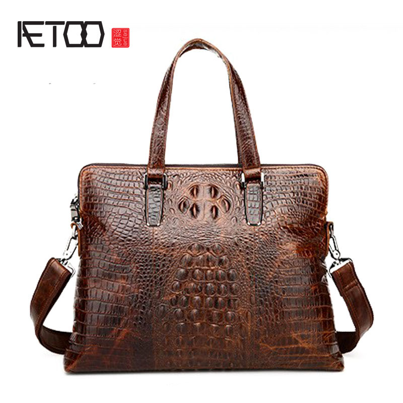AETOO new crocodile embossed leather bag man business handbag Crossbody leather briefcase vintage messenger bags laptop bags