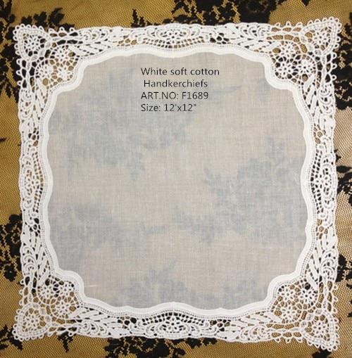 Set Of 12 Fashion Wedding Bridal Handkerchiefs Crochet Lace Hankies Cotton Ladies Hanky Embroidery Handkerchief 12x12-inch