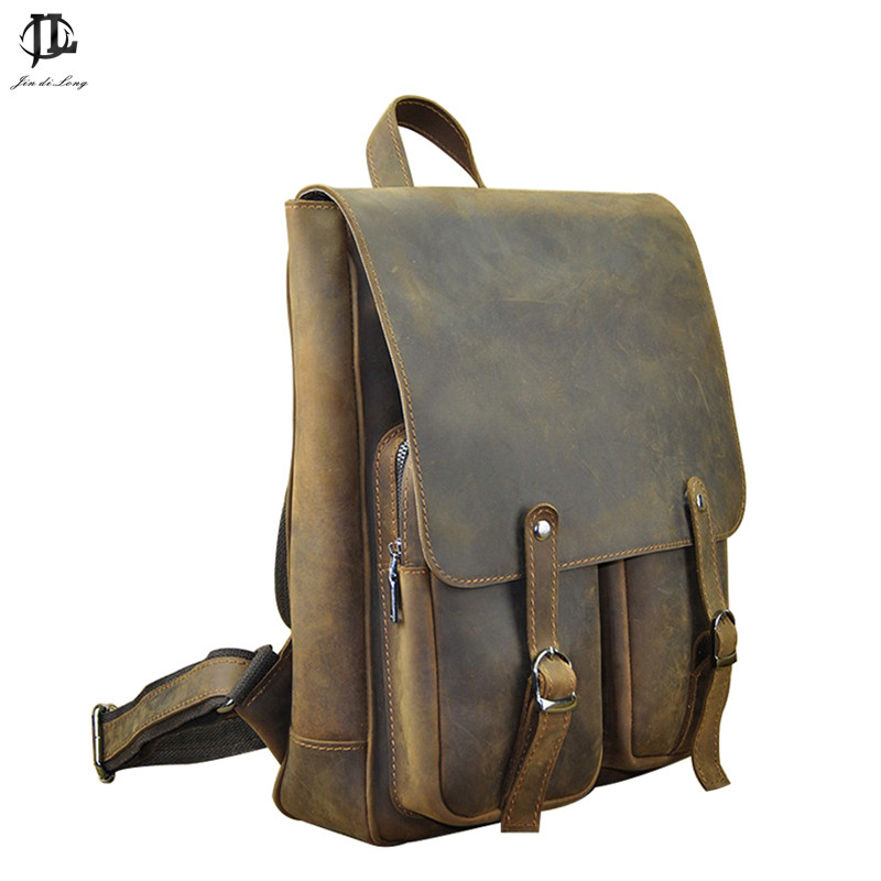 Retro Genuine Leather men backpacks casual vintage men travel bags brand Laptop bag School bag school bags for male male bag vintage cow leather school bags for teenagers travel laptop bag casual shoulder bags men backpacksreal leather backpack