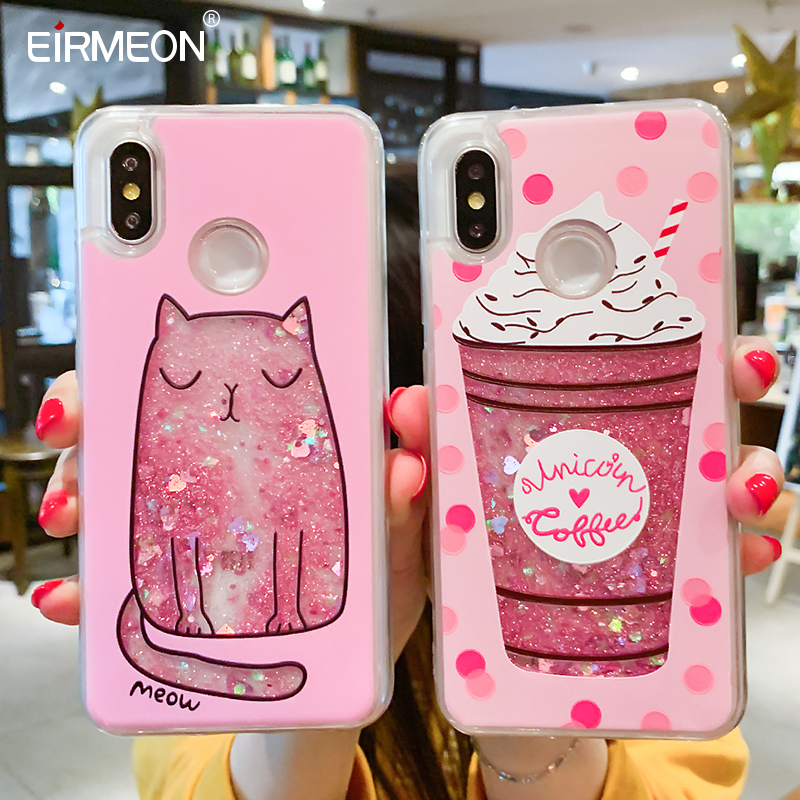 Liquid Quicksand Phone Case For Xiaomi Redmi Note 5 Pro Mi 8 Love Heart Glitter Cover For Redmi Note 4X Luxury Glitter Coques-in Fitted Cases from Cellphones & Telecommunications