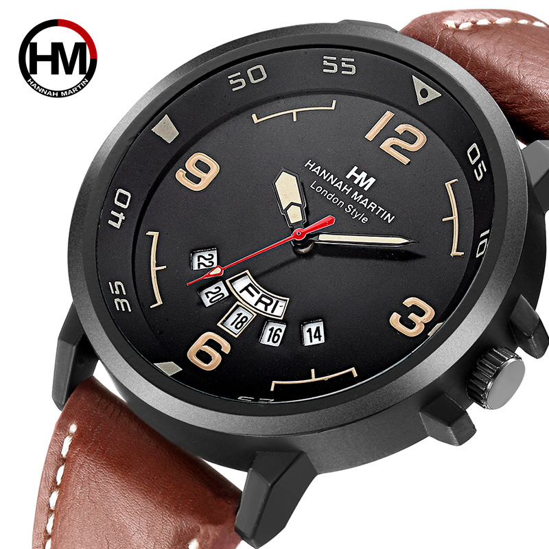 HM Top Brand Quartz Analog Sport Watch Faux Leather Date Wristwatch Military Quality Clock Causal Dress Relojes Hombre Gift Saat