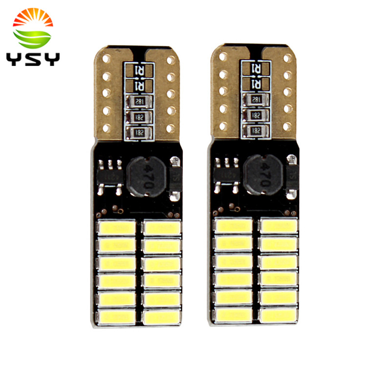 10pcs Canbus T10 W5W 194 168 2825 4014 24SMD White LED Bulbs for Car License Plate Lights side door courtesy Interior lights