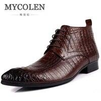 MYCOLEN Men Autumn Winter Genuine Leather Italian Black Luxury Crocodile Fashion Ankle Boots Men Shoes For Wedding Business