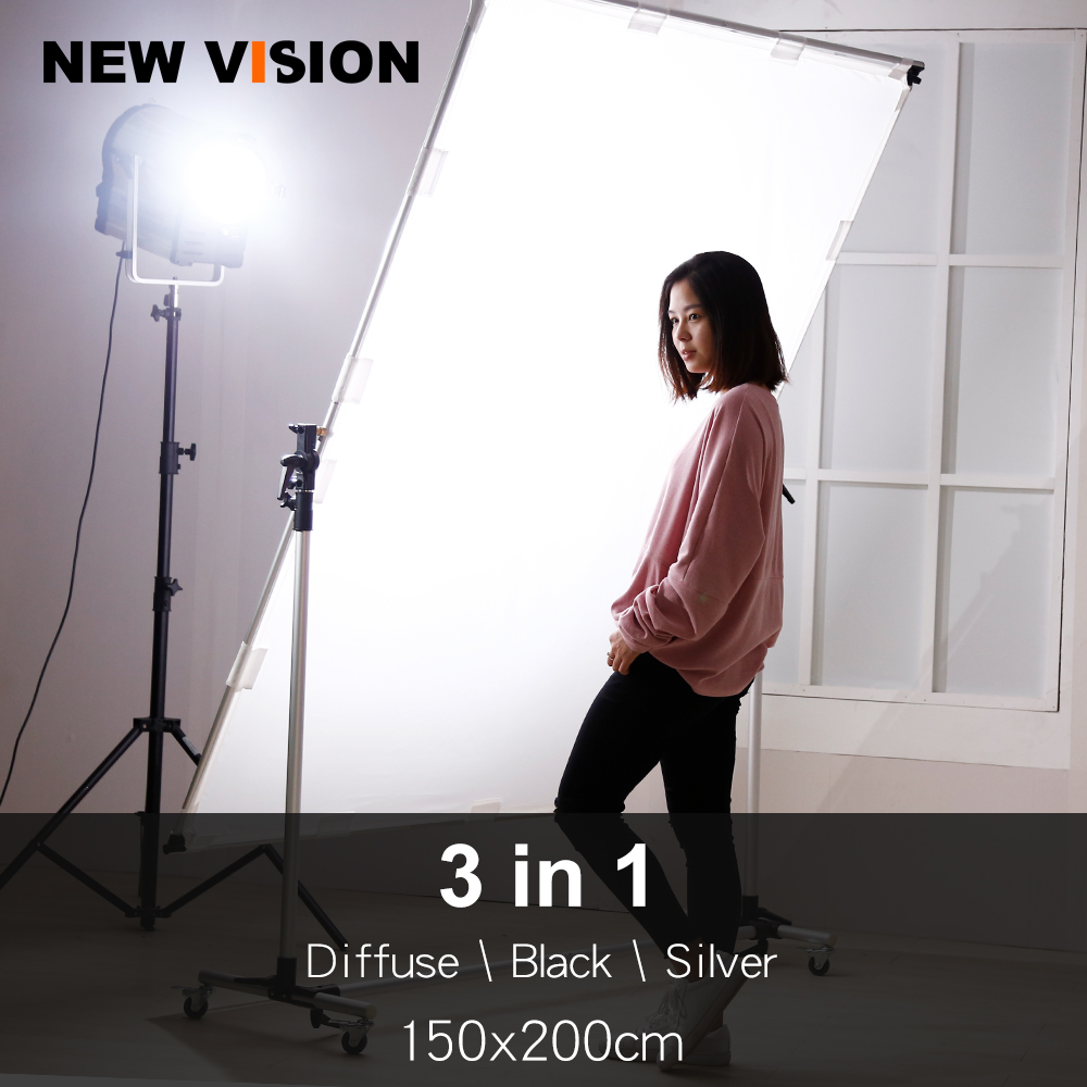 Pro Studio Solutions Adjustable Direction 150x200cm Collapsible Sun Scrim Diffuse Silver Black Reflector Kit with Wheel