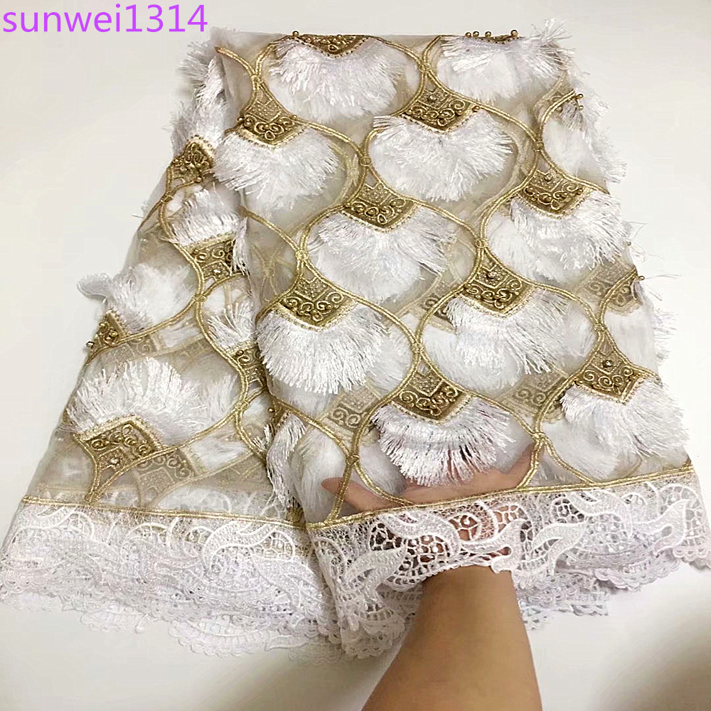 La Belleza 1 YARD Light gold beads fashion style super heavy beading lace fabric bride handmade