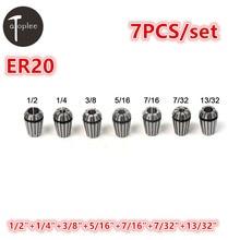 7PCS 7 32 1 2 ER20 Spring Collet 7 Types Precision Spring Chuck Set For CNC