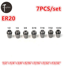 "7PCS 7/32""-1/2″ ER20 Spring Collet 7 Types Precision Spring Chuck Set For CNC Milling Lathe Tool & Engraving Machine"