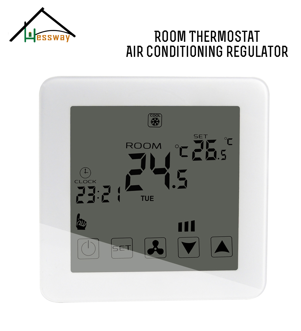2p 4p EU Smart Room Touch Screen Thermostat  Programmable With Cooling,heating,ventilation